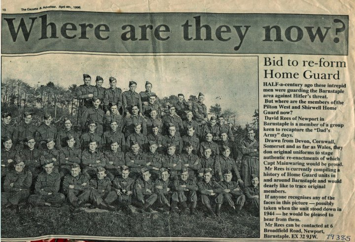 Pilton West and Shirwell Home Guard during World War II