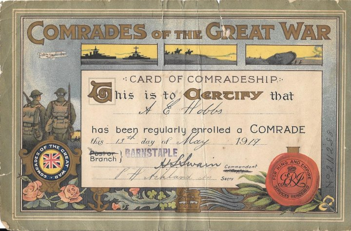 Comrades of the Great War Certificate of Alfred Edward Hobbs