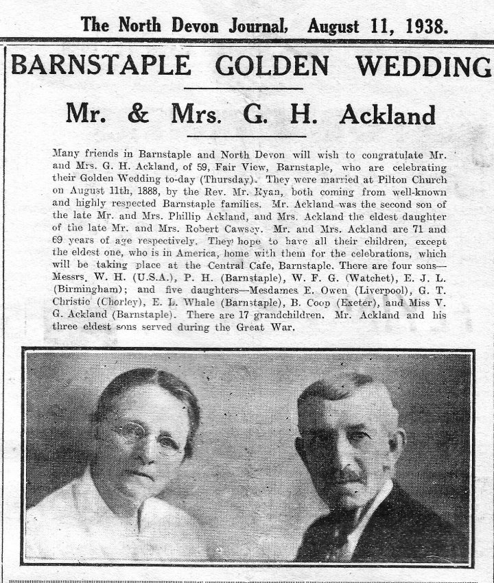 Golden Wedding of Mr & Mrs George H Ackland of Fair View, Pilton, on 11th August 1938