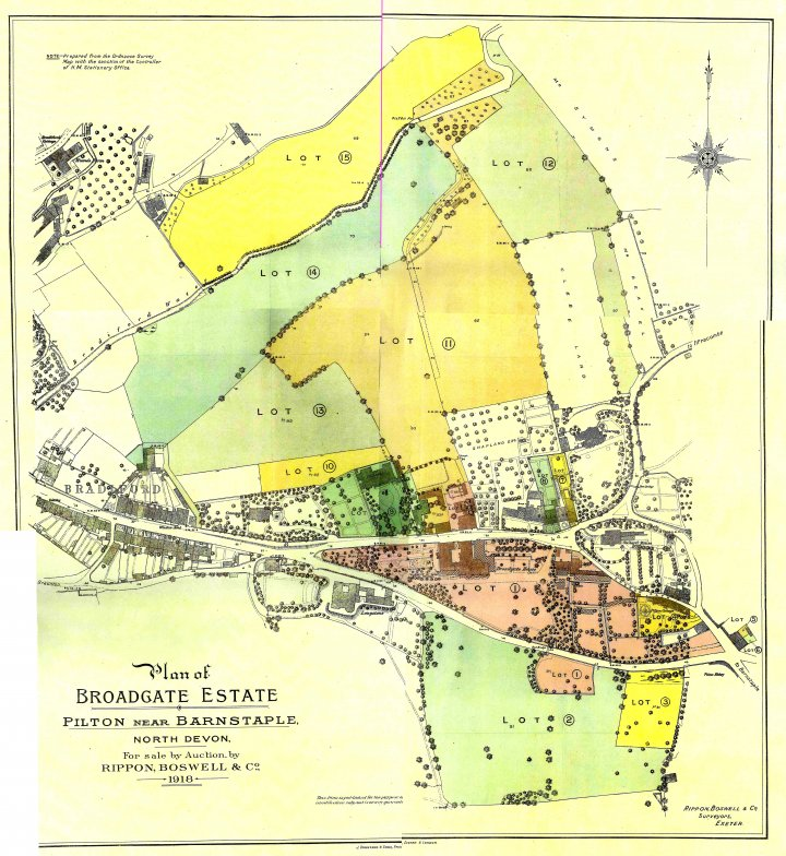 Map of the Broadgate Estate, Pilton, being sold in 1918