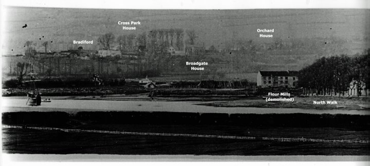 View of Bradiford and Pilton from south side of River Taw in mid-19th Century