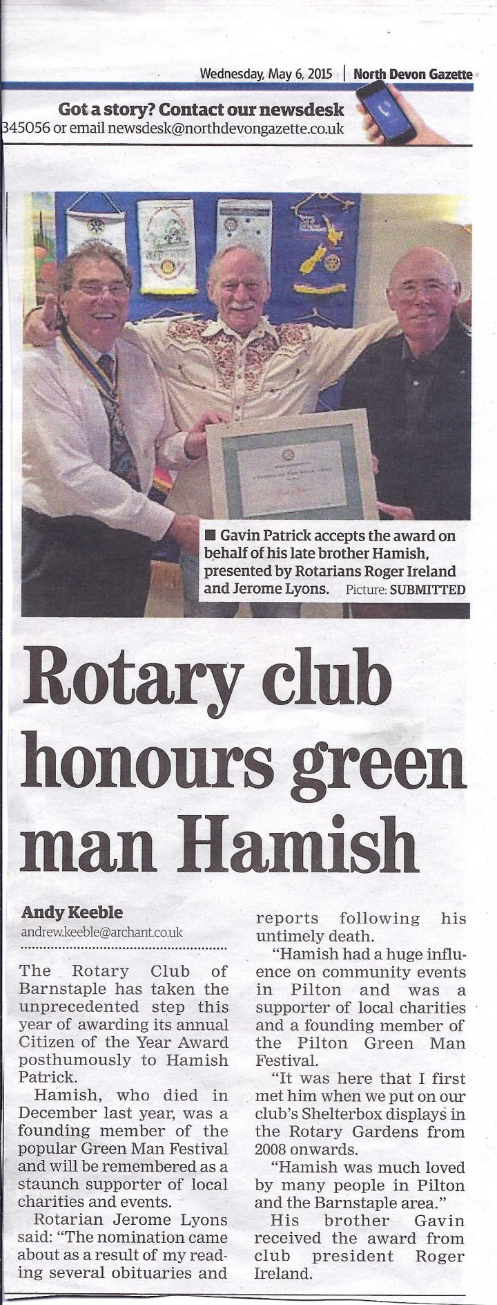 Rotary Club Honours Green Man Hamish