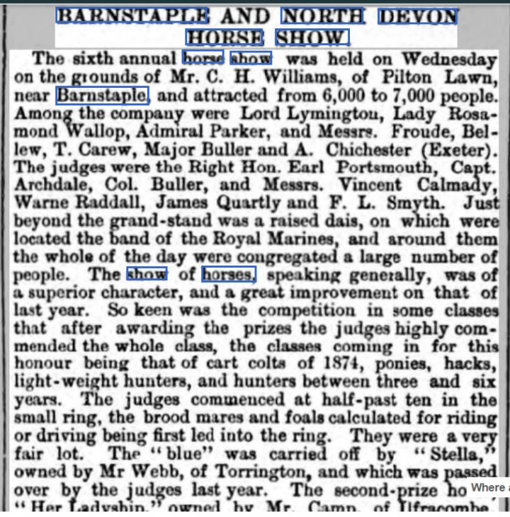 BARNSTAPLE AND NORTH DEVON HORSE SHOW at Pilton Lawn in July 1877