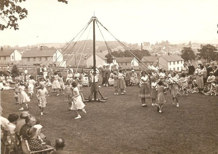 Maypole Dancing at Pilton House in 1957 or 1958
