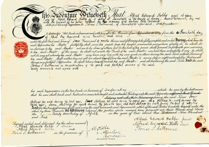 Indenture of Alfred Edward Hobbs, age 16 years, to Thomas Colbourne of Barnstaple in April 1909