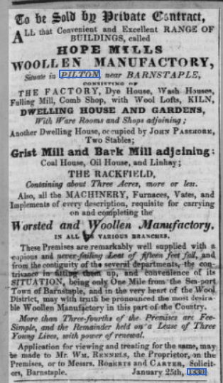 Sale of Hope Mills Woollen Manufactory in Bradiford in February 1830