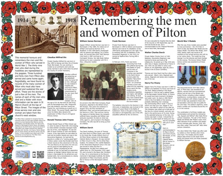 New Memorial to the Men and Women of World War 1 unveiled in Rotary Gardens, Pilton, on 8th September 2018