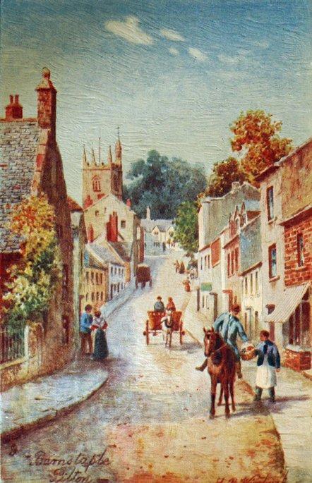 Watercolour of Pilton Street by Henry Wimbush (1858-1943)