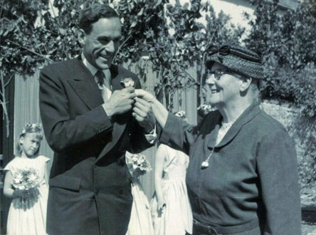 Jeremy Thorpe MP receives a buttonhole from Miss Allsop of Pilton House in May 1961