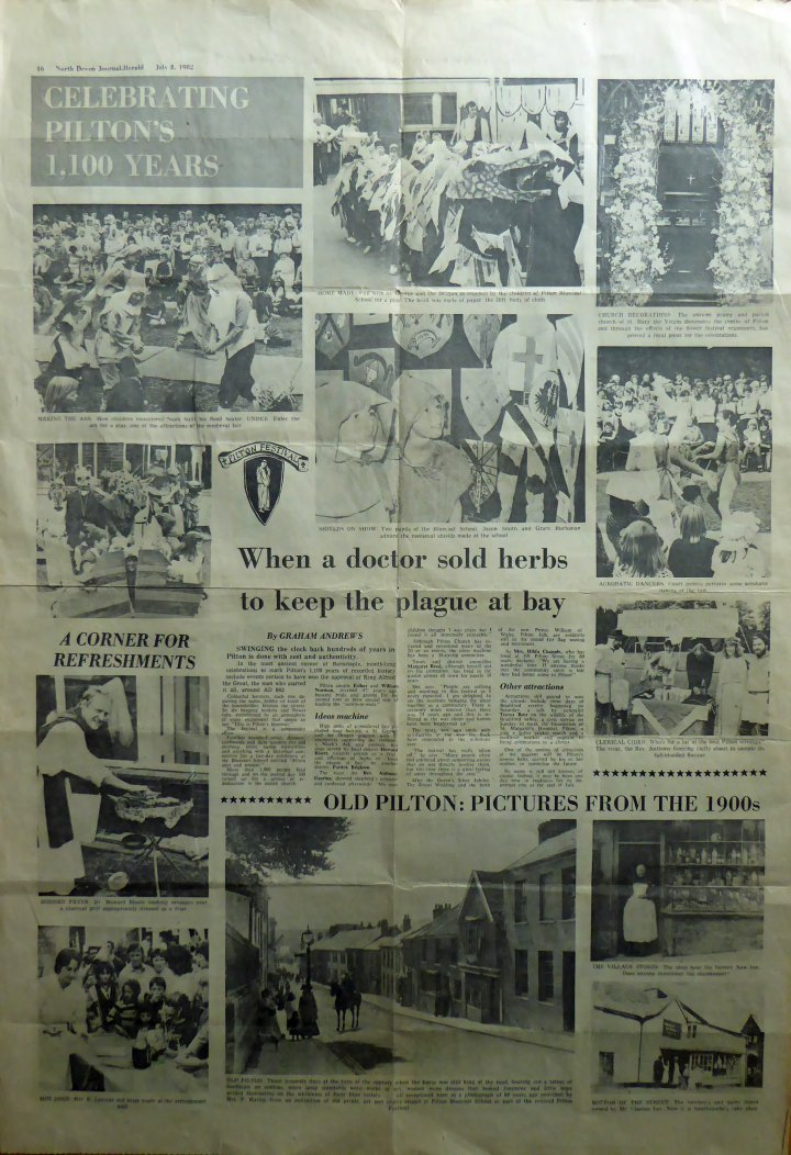 Pilton Festival, reported in the North Devon Journal Herald on July 8th 1982