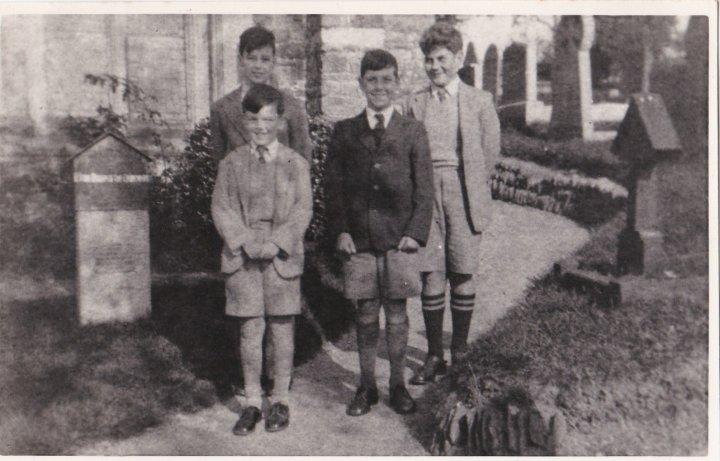 Boys Outside Pilton Church in the mid-1950s