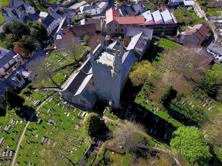 Pilton Church 2017 seen from above