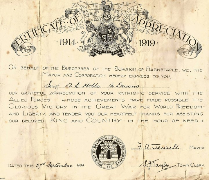 Certificate of Appreciation 1914-1919 to Arthur Edward Hobbs for Patriotic Service in the Great War